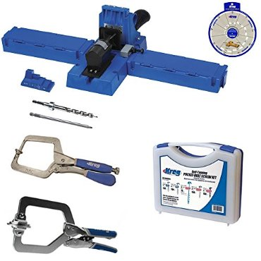 Kreg Jig K5 Super Kit with SK03 Screw Kit, KHC-1410 Automax Clamp, KHRC Right Angle Clamp,SSW Screw Selector