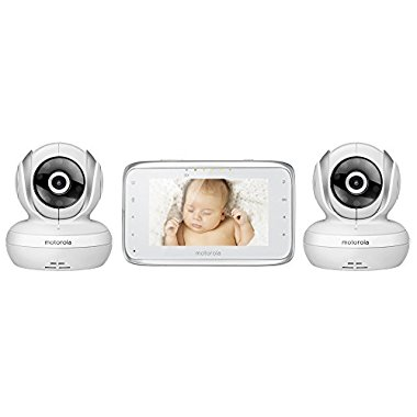 "Motorola MBP38S-2 Digital Video Baby Monitor with 4.3"" Color LCD Screen and 2 Cameras with Remote Pan, Tilt and Zoom"