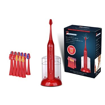 Pursonic S420 High Power Rechargeable Sonic Toothbrush with 12 Brush Heads & Storage Charger, Red