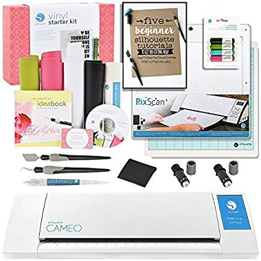 Silhouette CAMEO II Starter Bundle with Vinyl Kit, 2 Cutting Blades, Pixscan Mat, Glitter Pens, Starter Guide, Tools and More