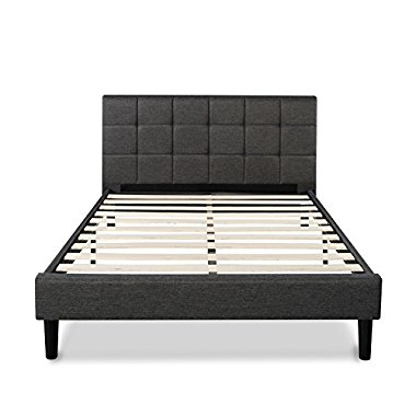 Zinus Upholstered Square Stitched Platform Bed with Wooden Slats, King