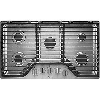 "Whirlpool WCG97US6DS 36"" Stainless Steel Gas Sealed Burner Cooktop"