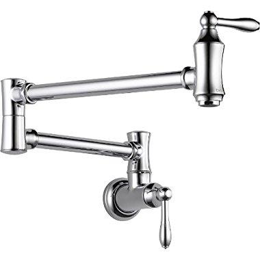 Delta 1177LF Pot Filler Faucet - Wall Mount, Chrome