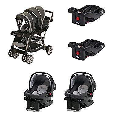 Graco Ready2Grow Dual Stroller + 2 Car Seats and 2 Car Seat Bases Travel System