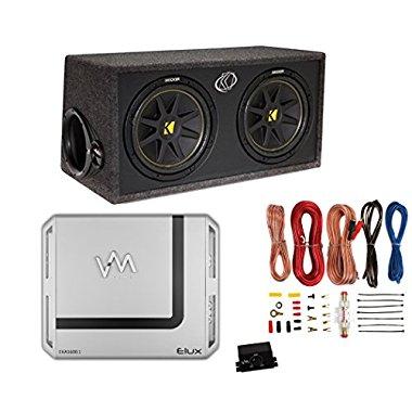 Kicker DC122 Dual 12 600W Car Audio Subwoofers + Box + 1600 Watt Amp + Amp Kit