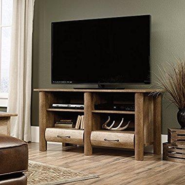 Sauder Boone Mountain TV Stand in Craftsman Oak