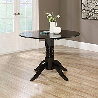 Sauder Furniture 415096 Harbor View Kitchen Dining Black Round Drop Leaf Table