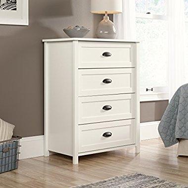 Sauder Furniture 416976 County Line Soft White 4-Drawer Dresser Storage Chest