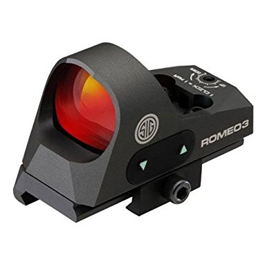 Sig Sauer Romeo3 1x25mm Open Reflex 3MOA Sight with High Riser Mount, Red Dot Reticle, Graphite (SOR31002)