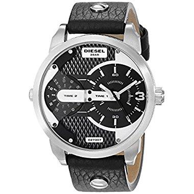 Diesel Men's DZ7307 Mini Daddy Stainless Steel Black Leather Watch