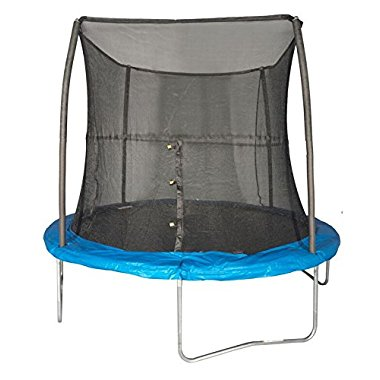 JumpKing 8 Foot Outdoor Trampoline and Safety Net Enclosure Combo, Blue | JK8VC1