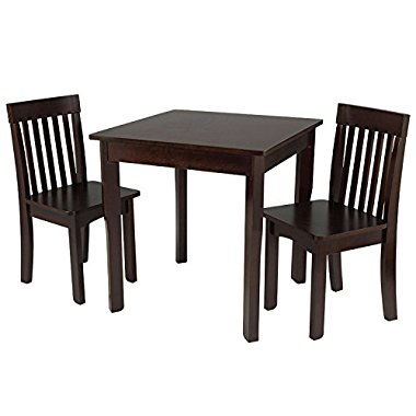 KidKraft Square Table & 2 Avalon Chair Set, Espresso