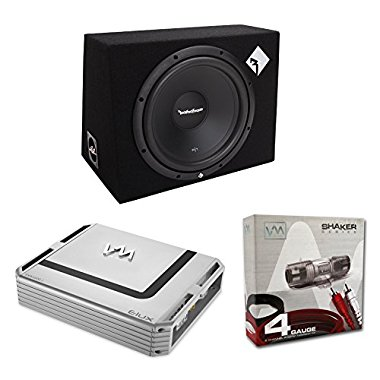 Rockford Fosgate R1-1X12 12 400W Car Subwoofer + Sub Box + 1600W Amp + Amp Kit