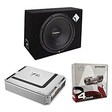 Rockford Fosgate R1-1X12 12 400W Car Subwoofer + Sub Box + 1600W Amp + Amp Kit