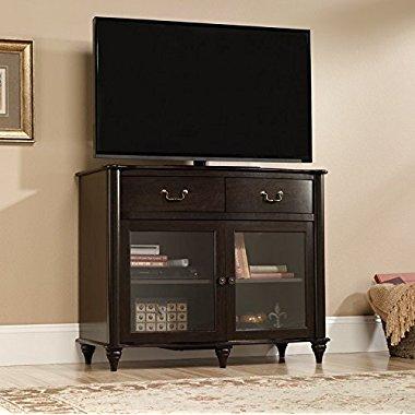 Sauder Furniture 416697 New Albany Home Highboy TV Stand Jamocha Dark Wood