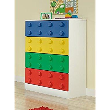 Sauder Furniture 417886 Primary Street Children Kids Toy Block 4-Drawer Chest