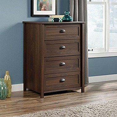 Sauder Furniture Rum Walnut Soft White 4-Drawer Dresser Storage Chest / 418323