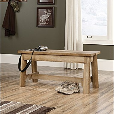Sauder Woodworking 416705 Boone Mountain Mud Room Home Log Bench Craftsman Oak