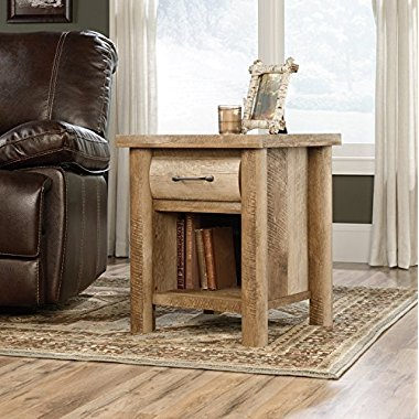 Sauder Woodworking 416719 Boone Mountain Living Room Log Cabin Side Table Oak