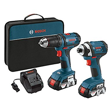 "Bosch CLPK26-181 18-Volt 2-Tool Combo Kit with 1/2"" Drill/Driver, 1/4"" Impact Driver, 2 Batteries, Charger and Contractor Bag"
