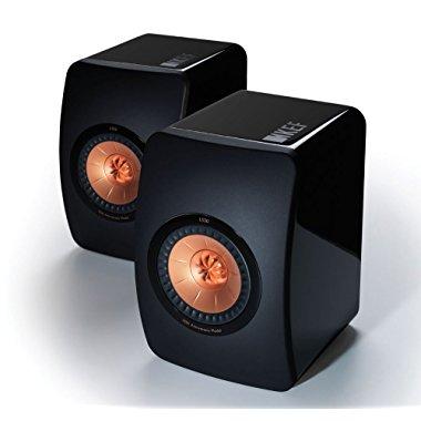 KEF LS50 Flagship Mini Monitor Speakers (Piano Black, Pair)