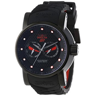 Invicta Men's 12787 S1 Rally Black Textured Dial Black and Red Silicone Watch