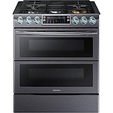Samsung NX58K9850SG 30 Slide-in Gas Range with Sealed Burner Cooktop, 5.8 cu. ft. Primary Oven Capacity, in Black Stainless Steel