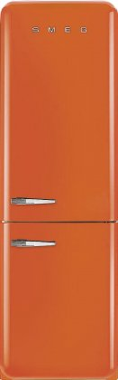 Smeg FAB32UORRN 24 50's Retro Style Bottom Freezer Refrigerator with 10.74 cu. ft. Capacity (Orange, Right Hinge)