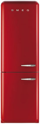 Smeg FAB32URDLN 24 50's Retro Style Bottom Freezer Refrigerator with 10.74 cu. ft. Capacity (Red, Left Hinge)