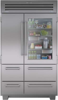 Sub-Zero 648PROG 48 Built In Side by Side PRO 48 Refrigerator with 30.2 cu. ft. Total Capacity  8 Shelves  Automatic Ice Maker  and Dual Refrigeration: Stainless