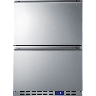Summit CL2R248 24 Drawer Refrigerator with 3.4 cu. ft. Capacity Digital Thermostat Temperature Alarm and Sliding Basket in Stainless