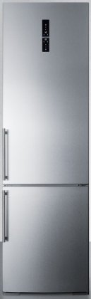 Summit FFBF181ESIM 24 Bottom Freezer Refrigerator with 12.5 Cu. Ft. Capacity, Ice Maker, 3 Adjustable Glass Shelves, Humidity Controlled
