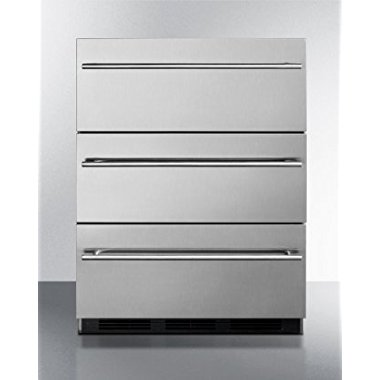 Summit SP6DSSTB7THIN 24 Commercially Approved 3-Drawer Refrigerator 5.4 Cu.Ft. Capacity (Stainless)
