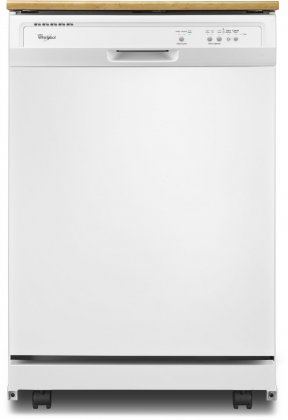 Whirlpool WDP340PAFW 24 Portable Full Console Dishwasher with 12 Place Settings  1-Hour Wash Cycle  High Temperature Wash Option  Heated Dry and Cycle Memory: