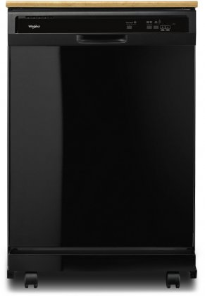 Whirlpool WDP370PAHB 24 Portable Undercounter Dishwasher with 3 Cycles  4 Wash options  55 dBA Noise Level  1 Hour Wash Cycle  Star K Compliant and Full Length