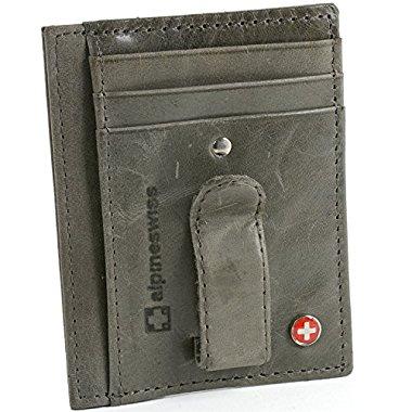 Alpine Swiss Mens Money Clip Leather Minimalist Slim Front Pocket Wallet (Grey)