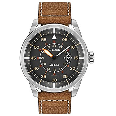 Citizen AW1361-10H Avion Eco-Drive Stainless Steel Men's Watch with Brown Leather Band
