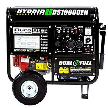 DuroStar DS10000EH 10000 Watt Hybrid Dual Fuel Portable Gas Propane Generator, RV Standby