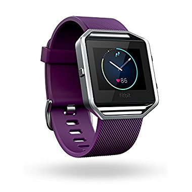 Fitbit Blaze Smart Fitness Watch, Plum, Silver, Large