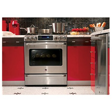 GE C2S985SETSS Cafe 30 Stainless Steel Dual Fuel Sealed Burner Range Convection