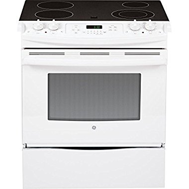 "GE JS630DFWW 30"" White Electric Slide-In Smoothtop Range"