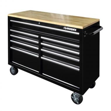 Husky 46 9 Drawer Mobile Workbench With Solid Wood Top Black