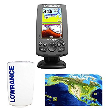 Lowrance Hook-4 CHIRP Bundle with Transducer, Nautic Insight Pro, Sun Cover