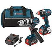 Bosch CLPK224-181 18-volt Lithium-Ion 2-Tool Combo Kit with 1/2 Hammer Drill/Driver, Impact Driver, 2 Batteries, Charger and Contractor Bag