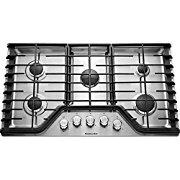KITCHENAID KCGS350ESS 30 Gas Cooktop with 5 Sealed Burners, 17K BTU Multiflame Burner, Even-Heat 5K BTU Simmer Burner, Electronic Ignition, Metal Control Knobs,and Full-Width Cast-Iron Grates in Stainless Steel