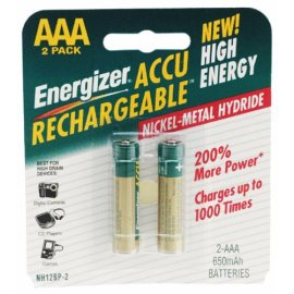 Energizer NH12BP-2 AAA Nickel Rechargeable Battery