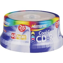 Memorex 32024627 CD-R 48x 700MB 80min Cool Colors Spindle