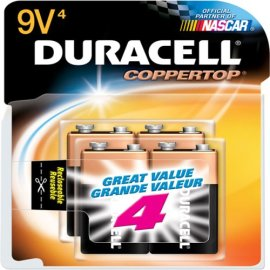Duracell Coppertop 9 Volt Cell Alkaline Batteries in Reclosable Storage 4 Pack