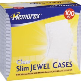 Memorex 32021992 Slim CD/DVD 5mm 100-Pack Jewel Cases